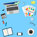 Office desktop workspace laptop notepad phone coffee table top view vector flat design for business web infographic concept Stock Photography