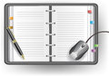 Office diary with line, ballpoint pen, and mouse Royalty Free Stock Photo
