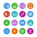 Office electronics icons metro style flat round Royalty Free Stock Image