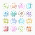Office elements Color symbol line icon set on white background - Vector illustration