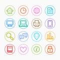 Office elements symbol Color line icon set on white background - Vector illustration