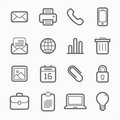 Office elements symbol line icon set on white background vector illustration Royalty Free Stock Photos
