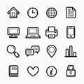 Office elements symbol line icon set on white background - Vector illustration
