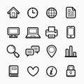 Office elements symbol line icon set on white background - Vector illustration Royalty Free Stock Photo