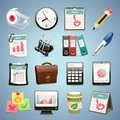 Office equipment icons set in the eps file each element is grouped separately clipping paths included in additional jpg format Royalty Free Stock Photo