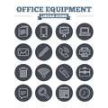 Office equipment linear icons set. Thin outline Royalty Free Stock Photo