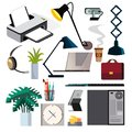 Office Equipment Set Vector. PC, Smartphone, Printer. Icons. Business Workplace. Stationery. Office Things. Isolated