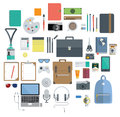 Of office equipment travel gadget and hobby icon set in flat design vector Royalty Free Stock Image