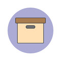 Office File Box thin line icon, archive filled outline vector lo Royalty Free Stock Photo