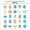 Office Flat Line Icon Set - Business Concept Icons Design