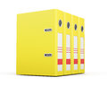 Office folders standing in a row. Yellow ring binders. 3d render Royalty Free Stock Photo
