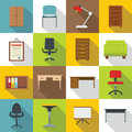 Office furniture icons set, flat style