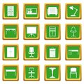 Office furniture icons set green