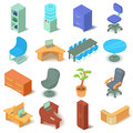 Office furniture icons set, isometric style Royalty Free Stock Photo