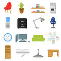 Office furniture and interior set icons in cartoon style. Big collection of office furniture and interior vector symbol