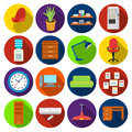 Office furniture and interior set icons in flat style. Big collection of office furniture and interior vector symbol