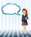 An office girl with an empty cloud template illustration of on a white background Stock Image