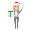 Office girl with a gift box illustration of an on white background Stock Photography