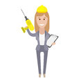 Office girl holds drill illustration of an on a white background Stock Image