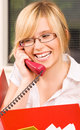 Office girl picture of lovely with phone in Stock Photos