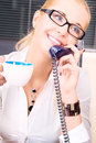 Office girl picture of lovely with phone and cup of coffee Royalty Free Stock Images