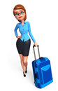 Office girl with traveling bag d rendered illustration of Stock Photography