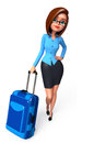 Office girl with traveling bag d rendered illustration of Stock Photos
