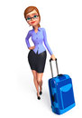Office girl with traveling bag d rendered illustration of Royalty Free Stock Photo