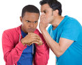 Office gossip bad secret closeup portrait of guy whispering into man s ear telling him something and disturbing really upset Royalty Free Stock Photos