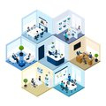 Office hexagonal tessellated pattern isometric composition business offices workspace interior organization honeycomb abstract Stock Image
