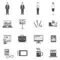 Office Icons Black Set Royalty Free Stock Photo