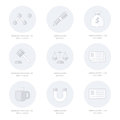 Office icons flat design Line icons style Royalty Free Stock Photo