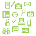 Office icons in green color Royalty Free Stock Photos