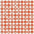 100 office icons hexagon orange