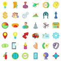 Office icons set, cartoon style Royalty Free Stock Photo