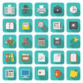 Office icons set of modern flat with long shadows Stock Photo
