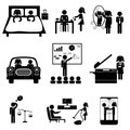 Office icons with sticks Royalty Free Stock Photo