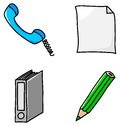 Office icons vector illustrations of various Stock Images