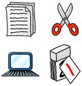 Office icons vector illustrations of various Stock Image