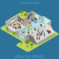 Office interior corporate department flat isometric vector 3d Royalty Free Stock Photo