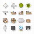 Office Interior Icons Top View Royalty Free Stock Photo