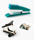 Office kit of stepler staple remover and brackets for a stapler Royalty Free Stock Image