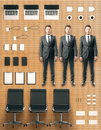Office kit tools concept with workers, office accessories and fu Royalty Free Stock Photo