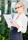 Office lady bright picture of lovely businesswoman in Royalty Free Stock Images