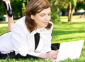 Office lady in park Royalty Free Stock Images