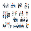Office life vector icon set. Flat style working people concept. Royalty Free Stock Photo