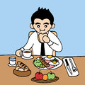 Office man eating good breakfast nutrient in hurry meal, vector hand drawn
