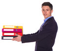 Office man giving a folders isolate on white background Royalty Free Stock Photos