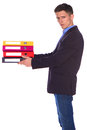 Office man giving a folders isolate on white background Stock Images