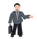 Office man vector illustration of with briefcase and thumb up Stock Images